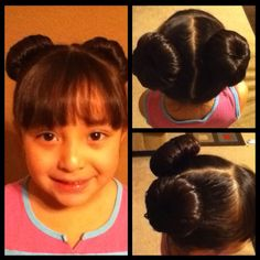 Two sock buns  Girl's hair