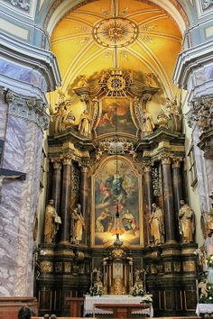Altar in a Baroque church in Gyor, Hungary. Architecture Artists, Cathedral Architecture, Russian Architecture, Sacred Architecture, Baroque Architecture, Religious Architecture, Beautiful Architecture, Architecture Details, Places Around The World