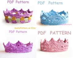 by SashaPattern (etsy) 4 crochet Baby Crowns Patterns - PROMO price Crochet Crown Pattern, Pattern Baby, Easy Crochet Patterns, Baby Patterns, Crochet Ideas, Crochet Projects, Baby Crowns, Baby Headbands, Baptism Headband