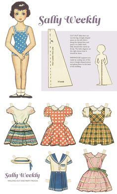 Sally Weekly 1950s paper doll set