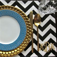greek key plate, scalloped gold charger, gold flat ware, chevron monogrammed place mat