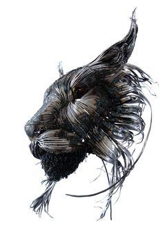 Metal Lynx sculpture