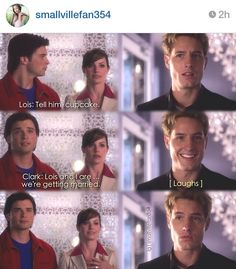 """""""Lois and I are... we're getting married"""" - Clark, Lois and Oliver #Smallville (by smallvillefan354) ((Bahahaha Oliver's face))"""