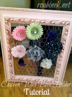 DIY bow holder I'd rather use ribbon instead of chicken wire!