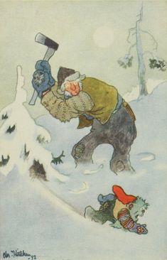 Bilderesultat for Kittelsen bilder vintermotiv Vintage Postcards, Norway, Rooster, Christian, Christmas Postcards, Painting, Animals, Art, Photo Illustration