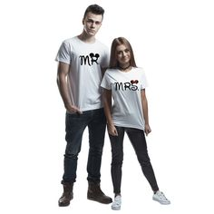 Printed T-Shirts – T-shirt for couple mr. mrs – a unique product by MoodyMood on DaWanda