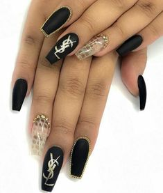 70 Matte Black Coffin Nail Ideas Trend in Cool 2019 - Gucci Nails - Ideas of Gucci Nails - 70 Matte Black Coffin Nail Ideas Matte Black Nails; Black Coffin Nails, Matte Black Nails, Gold Stiletto Nails, Bling Nails, Dope Nails, Black Nail Designs, Nail Art Designs, Nails Kylie Jenner, Gel Nails