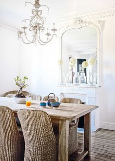 great great dining room.. love the mix of raw textures with elegance
