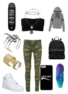 """""""Going to the skatepark to meet up with mates."""" by chloe-stone-9 ❤ liked on Polyvore featuring Pieces, Modström, Victoria's Secret PINK, Glenda López, NIKE, Topshop, Elizabeth and James and Maria Francesca Pepe"""