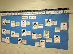 Wonder RJ Palacio Bulletin board, wonder inspired Self-portrait, favorite precept, and postcard explanation