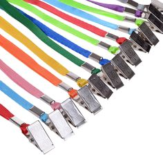 Amazon.com : Wisdompro 30pcs 17 Inch Pack of Colorful Blank Flat Woven Nylon Neck Lanyards / Straps / Strings with Metal Bulldog Clip Attachment for Office's ID Tags, Name Tags and Badge Holders - Assorted Colors (Blue / Orange / Grey / Navy / Purple / Yellow / Red / Green / Light Green / Pink) : Office Products