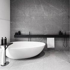 Amazing bathroom, R-House by Tamizo Architects Mateusz Stolarski. Featuring Agape Design SEN accessories and Spoon XL bath.
