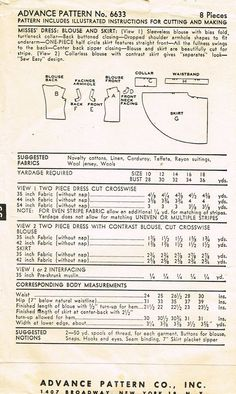 1950s Vintage Advance Sewing Pattern 6633 Uncut Misses Easy Dress Size 14 32 B