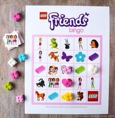 Free Printable LEGO Friends Bingo at artsyfartsymama.com LEGO Friends Bingo includes all of your favorite characters from LEGO Friends, as well as different color bricks and adorable pets!! In the bingo set, there are eight different bingo cards, so it's easy to print and use for your parties.: