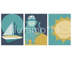 Quadretti per cameretta, tema marinaro: barca a vela, sole, scimmietta. Download immediato, file da stampare in formato A4 (29,7 x21 cm) di IlluminoHomeIdeas su Etsy