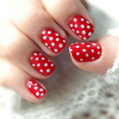 Red and white polka dotted retro style manicure! I LOOOVE it! One day.....