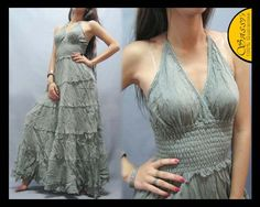DRESS DGF21 HALTER SEXY COTTON PARTY PROM BEACH SUMMER BOHO VINTAGE LADIES WOMEN | eBay