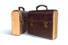 Leder-Holz Tasche