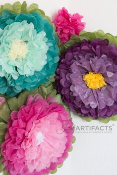 Tissue Flower Trio