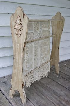 Pick Up Only Distressed Beige Wooden Quilt Rack With Decorative Wooden Accents