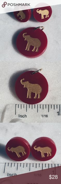"Moon & Lola Eden Elephant Charm & Studs in Garnet Deep red (color is called garnet) acrylic charm and stud earrings with gold rubbed elephants. Eden earrings in small (1/2"" diameter) are $36 and Eden charm in small (3/4"" diam) is $12 on Moon&Lola's site. This set is in excellent condition, no flaws. Charm can be added to necklace, bracelet, keychain, whatever you can dream up! Perfect for Alabama game day. Roll tide! 🐘🏈 Moon & Lola Jewelry Earrings"