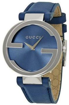 Gucci Interlocking-G Blue Dial Blue Leather Ladies Watch YA133322