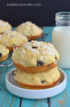 Easy coconut muffin tops full of chocolate chunks!  Add a glass of milk for the perfect breakfast!