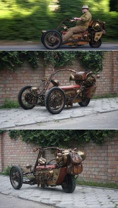 fully functional one-of-a-kind steampunk trike - max speed is 12 mph