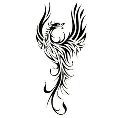tribal dragon tattoo Line Art | Categories : Phoenix Tattoos