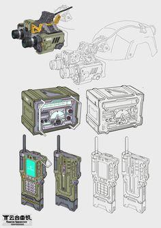 gear by marksanwel on DeviantArt Robot Concept Art, Armor Concept, Weapon Concept Art, Game Concept, Armas Ninja, Futuristic Armour, Sci Fi Weapons, Prop Design, Military Gear