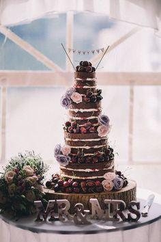 Naked Black Forest Gateau Cake Beautiful Relaxed Summer Blush Wedding jenmarino.com/