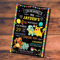 POKEMON BIRTHDAY INVITATION  This is digital file, Proof file invitation will send by your email etsy account or email you want. You responbility to printing, I am design service only! How to print ? you can print at home or upload at vendor printing online (Walgreens, Vistaprint, snapfish, etc many sites vendor print online)  Size File invitation is 5x7 and 4x6 please!  How to pruchase? Add to your chart then following step and you will see NOTES TO SELLER box, Enter you info details: 1…