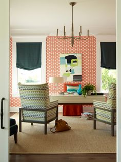 House of Turquoise: 2013 Coastal Living Showhouse - Be Bold! This home office shows it's quirky style with the use of bold & colorful patterns.