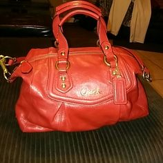 Authentic Coach Bag Red beaaaautiful bag. Only worn once, no tags. Very nice, clean and sturdy. Only accepting offers through the offer tab. Thank you ladies for visiting!  PAYPAL & MERCARI ACCEPTED✨ Coach Bags Satchels
