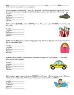 2 page resource where students are given real-world must identify the parts of the equation, write and solve an equation.  The real-life situations involve positive and negative rational numbers.  I use this resource with my on-level and advanced math classes.