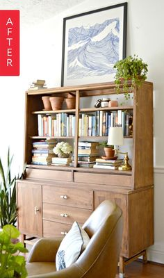 Looking for some furniture rehab inspiration? Or some encouragement that no project is too big and no piece of furniture is too far gone? Check out Chelsea's DIY magic when she rehabbed this antique piece with some TLC and major elbow grease! Repurposed China Cabinet, Modern China Cabinet, Unique Furniture, Furniture Projects, Teak Furniture, Retro Furniture, Diy Projects, Stuck In The Mud, Apartment Living