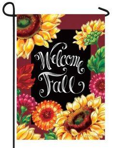 Welcome Fall Sunflowers Chalkboard Garden Flag