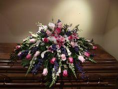 Grave Flowers, Funeral Flowers, Wedding Flowers, Creative Flower Arrangements, Funeral Flower Arrangements, Delphinium, Hydrangea, Stargazer Lilies, Funeral Sprays