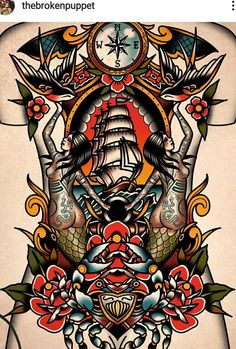 Traditional Tattoo Back Piece, Traditional Tattoo Reference, Traditional Sailor Tattoos, Traditional Tattoo Prints, Traditional Tattoo Inspiration, Traditional Ink, Mens Stomach Tattoo, Old School Tattoo Sleeve, Desenhos Old School