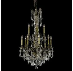 View the Elegant Lighting 9612D25AB Monarch 12-Light, Two-Tier Crystal Chandelier, Finished in Antique Bronze with Clear Crystals at LightingDirect.com.
