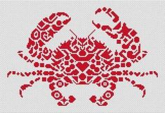 White Willow Stitching Tribal Crab - Cross Stitch Pattern. Based on the artwork of Jamie Larson. Model stitched on 14 count White Aida with DMC floss. Stitch Co