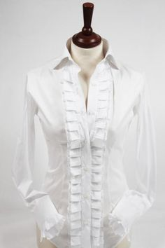 White ruffle shirt - great with white jeans!