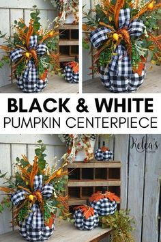 Looking for inspiration for your next fall decor? We have you covered! Just a simple black and white pumpkin, a few floral pieces, and your creativity can be all you need to make your next decor to display in your home or add to your table this fall!  Grab your tools, and supplies needed to make your own Black and White Pumpkin Centerpiece and let your creativity shine. By Keleas Florals Crafts To Do, Fall Crafts, Holiday Crafts, Holiday Decor, Holiday Parties, Thanksgiving Crafts, Thanksgiving Decorations, Fall Decorations, White Pumpkin Centerpieces
