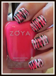 Pink & black fan brush nails