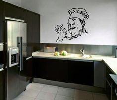 "italian chef kitchen decor items   Chef wall decal 18"" kitchen decoration Italian Chef gourmet style ..."