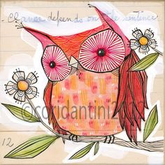 whimsical folk painting of a red bird 8 x 8 inch by corid