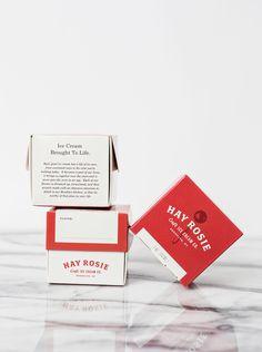 Unique Packaging Design, Hay Rosie Craft Ice Cream Co. Ice Cream Packaging, Beverage Packaging, Coffee Packaging, Label Design, Packaging Design, Graphic Design, Ice Cream Brands, Web Design Studio, Craft Projects
