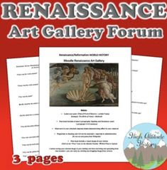 Renaissance Art Gallery Forum by High Altitude History Modern World History, European History, Renaissance And Reformation, Research Skills, Social Studies Resources, Grades, Online Web, Teacher Blogs, Favorite Words