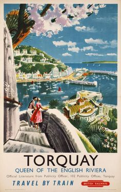 Original Vintage British Railways Travel Poster for Torquay Devon, Queen Of The…