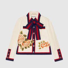 Gucci Silk cotton embroidered jacket - Gucci Jacket - Ideas of Gucci Jacket - Gucci Silk cotton embroidered jacket Gucci Fashion, High Fashion, Luxury Fashion, Fashion Outfits, Blazer Jackets For Women, Embroidered Jacket, Character Outfits, Classic Outfits, Korean Fashion